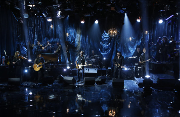 In this photo provided by NBC, Bruce Springsteen and the E Street Band perform during &quot;Hurricane Sandy: Coming Together&quot; Friday, Nov. 2, 2012, in New York. Hosted by Matt Lauer, the event is heavy on stars identified with New Jersey and the New York metropolitan area, which took the brunt of this week&#39;s deadly storm. (AP Photo/NBC, Heidi Gutman)