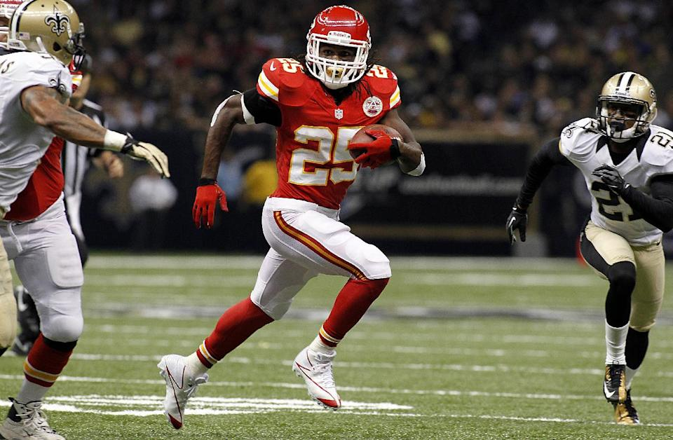 Kansas City Chiefs running back Jamaal Charles (25) rushes in the first half of an NFL football game against the New Orleans Saints in New Orleans, Sunday, Sept. 23, 2012. The Chiefs won 27-24 in overtime. (AP Photo/Jonathan Bachman)