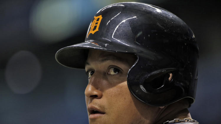 Detroit Tigers' Miguel Cabrera waits his turn to bat during the first inning of a baseball game against the Tampa Bay Rays Wednesday, Aug. 20, 2014, in St. Petersburg, Fla. (AP Photo/Chris O'Meara)