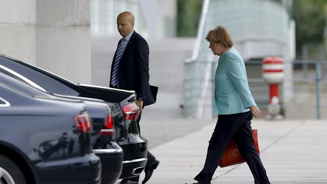German Chancellor Angela Merkel arrives at the Chancellery in Berlin