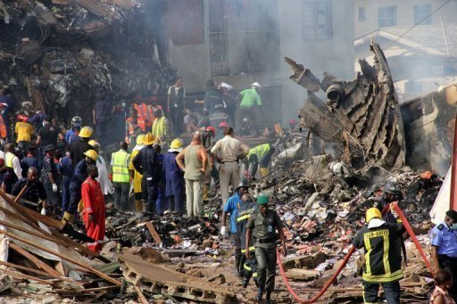 Rescuers and firefighters search for victims of the Dana Air plane crash
