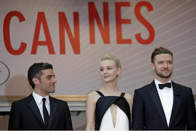 From left, actors Oscar Isaac, Carey Mulligan and Justin Timberlake arrive for the screening of the film Inside Llewyn Davis at the 66th international film festival, in Cannes, southern France, Sunday