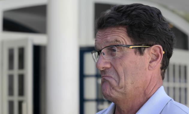 Russia's national soccer team coach Capello talks with journalists at the Costa do Sauipe resort ahead of the 2014 World Cup draw in Sao Joao da Mata