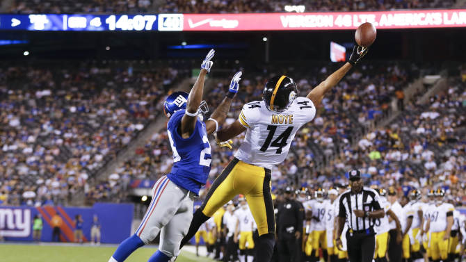 Pittsburgh Steelers wide receiver Derek Moye (14) can't make a catch as New York Giants cornerback Jayron Hosley (28) defends in the fourth quarter of a preseason NFL football game, Saturday, Aug. 9, 2014, in East Rutherford, N.J. (AP Photo/Frank Franklin II)