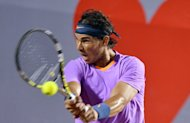 Rafael Nadal hits a return to France's Jeremy Chardy during the ATP Vina del Mar tournament semi final on February 9, 2013. Nadal, seeded number one as a wildcard in the $410,200 tournament, needed just 64 minutes to defeat the third-seeded Chardy