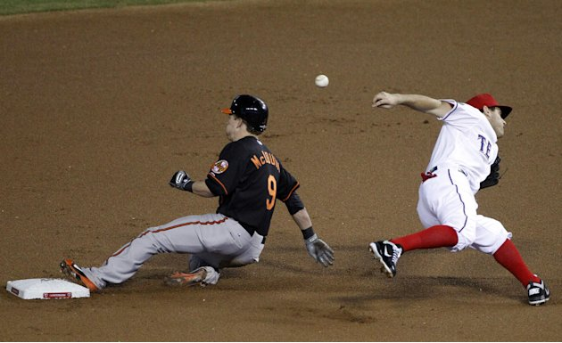 Baltimore Orioles&amp;#39; McLouth (9) steals second base as Texas Rangers second baseman Ian Kinsler misses the throw during the first inning of an American League wild-card playoff baseball game Friday,