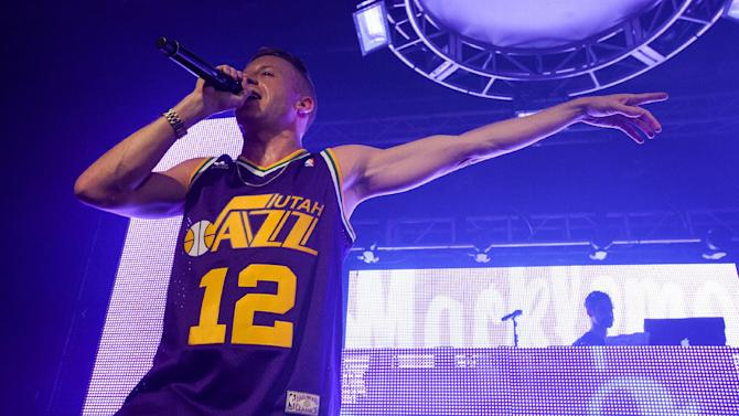 IMAGE DISTRIBUTED FOR PARK CITY LIVE - Macklemore of Macklemore and Ryan Lewis performs onstage at Park City Live Day 9 on Friday, January 25, 2013, in Park City, Utah. (Photo by Barry Brecheisen/Invision for Park City Live/AP Images)