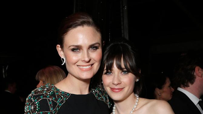 IMAGE DISTRIBUTED FOR FOX SEARCHLIGHT - Actresses Emily Deschanel, left, and Zooey Deschanel attend the Fox Golden Globes Party on Sunday, January 13, 2013, in Beverly Hills, Calif. (Photo by Todd Williamson/Invision for Fox Searchlight/AP Images)