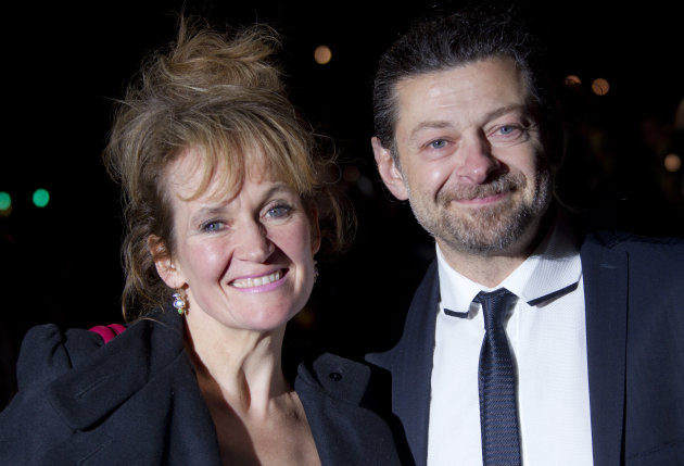 Lorraine Ashbourne and Andy Serkis arrive on the red carpet for the V&A Hollywood Costume Dinner at the V&A museum in west London, Tuesday, Oct. 16, 2012 The exhibition explores the role costume design plays in cinema storytelling, bringing together over 100 of the most iconic movie costumes from across a century of film-making, and includes costumes of characters such as Dorothy from Wizard of Oz, Indiana Jones, Scarlett O&#39;Hara and Darth Vader.(Photo by Joel Ryan/Invision/AP)