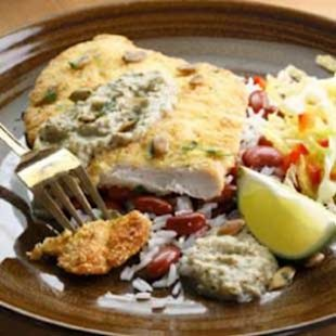 Cornmeal-Crusted Chicken Breast with Pepian Sauce