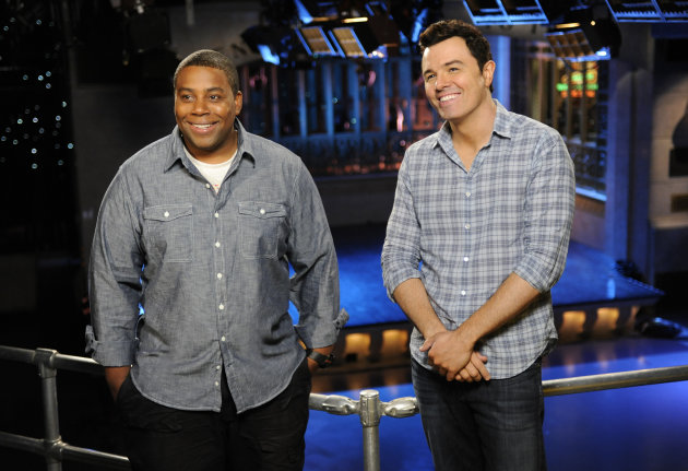 "This Sept. 11, 2012 photo provided by NBC shows Kenan Thompson, left, and host Seth MacFarlane on the set of ""Saturday Night Live"" in New York. MacFarlane is hosting SNL's season premiere on Saturday, Sept. 15, with musical guest Frank Ocean. (AP Photo/NBC, Dana Edelson)"