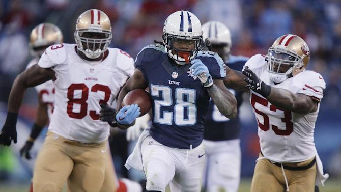 FILE - In this Oct. 20, 2013, file photo, Tennessee Titans running back Chris Johnson (28) runs ahead of San Francisco 49ers defenders Demarcus Dobbs (83) and NaVorro Bowman (53) on a touchdown reception in an NFL football game in Nashville, Tenn. The New York Jets signed the former Titans running back Wednesday, April 16, a little over a week after he was officially released by Tennessee on April 7. (AP Photo/Wade Payne, File)