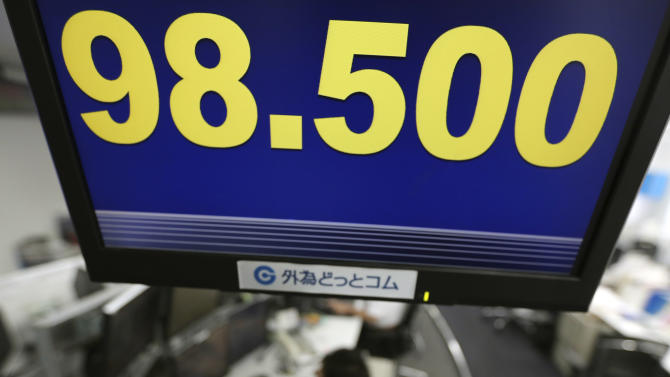 Money traders work under a screen indicating the U.S. dollar is trading at 98.500 yen at a foreign exchange company in Tokyo, Monday, April 8, 2013. (AP Photo/Itsuo Inouye)