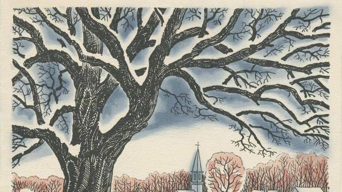 In this photo provided by Dartmouth College, one of Robert Frost's Christmas cards is seen. Famed poet Frost once waited until July to send his Christmas cards. (AP Photo/Dartmouth College)