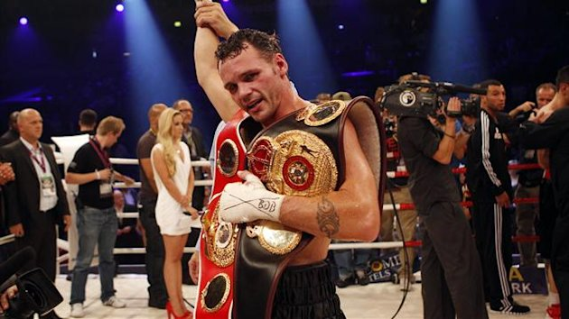 Daniel Geale of Australia celebrates after winning the WBA and IBF middleweight World Championship boxing fight against Felix Sturm of Germany in Oberhausen (Reuters)