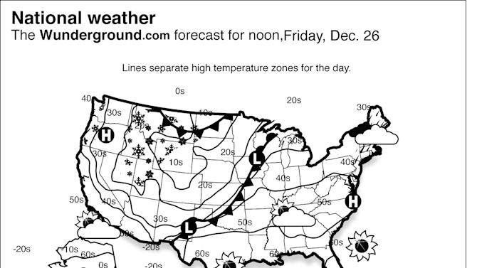 This is the Weather Underground forecast for Friday, Dec. 26, 2014, for the United States. Low pressure will continue to move through the Plains and into the Upper Midwest. Showers and a few thunderstorms will be possible ahead of this system, with a few snow showers through the Plains and central Rockies. (AP Photo/Weather Underground)
