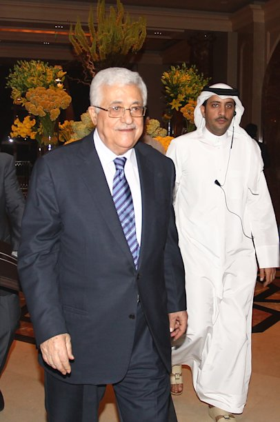 Palestinian president Mahmoud Abbas during the opening of the Arab League Monitoring Committee to put the finishing touches on the Palestinian bid for UN membership  in Doha, on Tuesday Aug 23, 2011.(AP Photo/Osama Faisal)