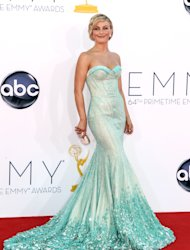 Julianne Hough arrives at the 64th Primetime Emmy Awards at the Nokia Theatre on Sunday, Sept. 23, 2012, in Los Angeles. (Photo by Matt Sayles/Invision/AP)