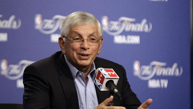 "FILE - In this June 12, 2012 file photo NBA Commissioner David Stern gestures during a news conference in Oklahoma City. President Barack Obama is joining with NBA legend Michael Jordan and an array of basketball stars to raise money for his re-election campaign later this month. The Obama campaign is planning a fundraising ""shoot-around"" and dinner in New York on Aug. 22 featuring several NBA stars.  (AP Photo/Sue Ogrocki, File)"