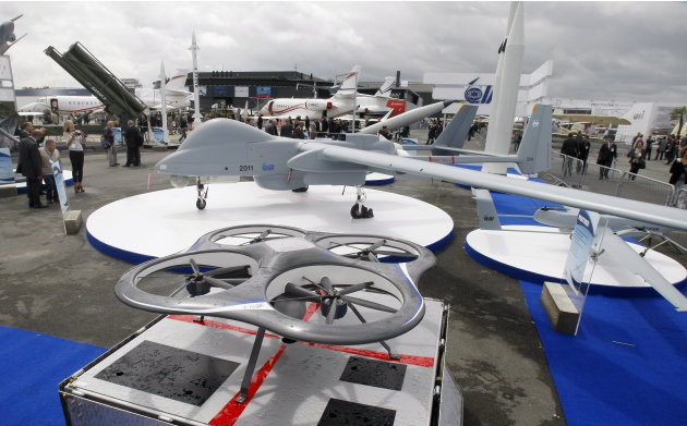 View of Israeli-made drones presented at the Israeli pavilion, on the first day of the Paris air show, at Le Bourget airport, Monday June 20, 2011. In the foreground, the Etop, an electrical powered a