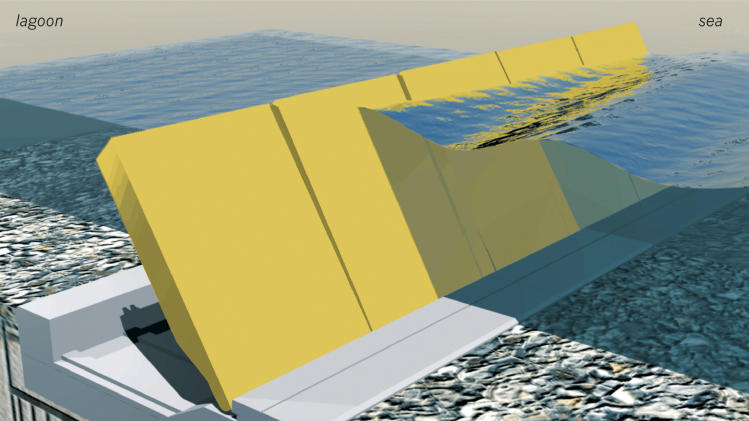 "FILE - This rendering made available by the New Venice Consortium on Dec. 5, 2008, shows the moveable barriers that will be used to prevent severe flooding in Venice, Italy. The project is named ""Moses,"" after the Old Testament figure who parted the Red Sea. Many Venetians remain skeptical of the project due to the high costs and concerns over environmental risks. (AP Photo/Graziano Arici/New Venice Consortium)"