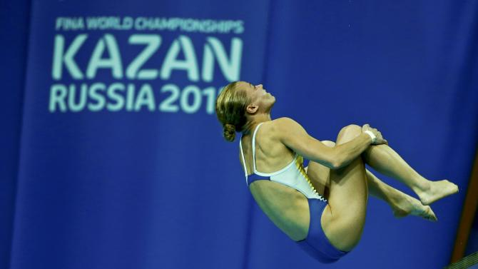 Prokopchuk of Ukraine performs a jump during the mixed team event final at the Aquatics World Championships in Kazan