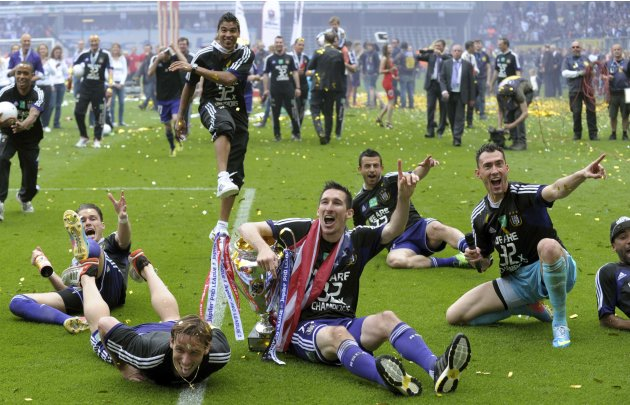 Anderlecht's players celebrate winning the Belgian championship in Anderlecht