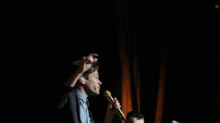Nate Ruess, left, and Jack Antonoff of the band fun. perform at Radio City Music Hall on Saturday, Feb. 2, 2013 in New York City. (Photo: Bryan Bedder/Invision/AP)