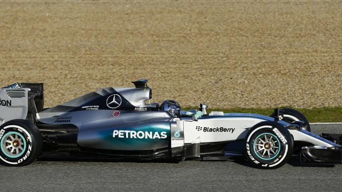 Mercedes Formula One racing driver Nico Rosberg of Germany drives the new Mercedes F1 M06 car at the Jerez racetrack in southern Spain