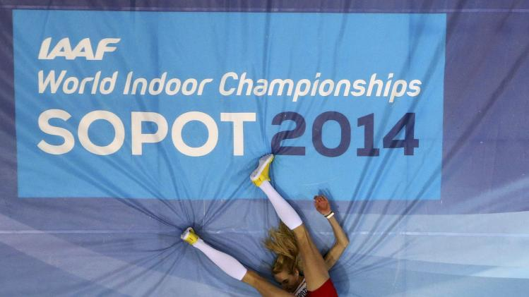 Poland's Kasprzycka competes in women's high jump qualification at world indoor athletics championships in Sopot