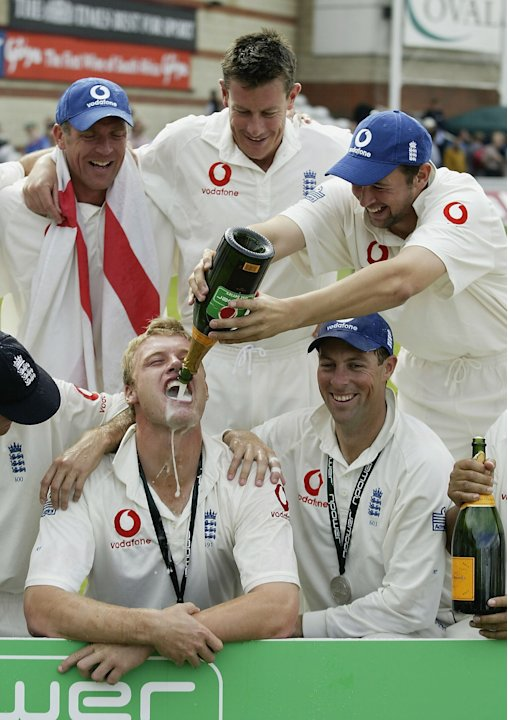 LONDON - SEPTEMBER 8:  Andrew Flintoff of England celebrates with his team-mates after England's victory over South Africa during the fifth day of the fifth npower test match between England and South
