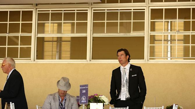 Jerry O'Connell is seen on Day 2 of the Breeders' Cup World Championships on Saturday Nov. 3,  2012, in Arcadia, Calif.  (Photo by Matt Sayles/Invision for Breeders' Cup/AP Images)