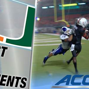 Miami's Herb Waters Hauls in Acrobatic TD Catch | ACC Must See Moment