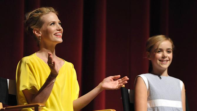COMMERCIAL IMAGE - In this image provided by AMC, January Jones and Kiernan Shipka appear on stage at the Mad Men screening at the Academy of Television Arts & Sciences on Sunday, June 10, 2012 in the North Hollywood section of Los Angeles. (Photo by John Shearer/Invision for AMC/AP Images)