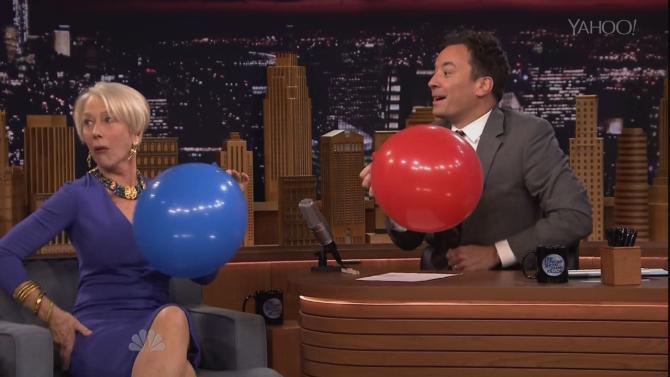 Helen Mirren Huffs Helium With Jimmy Fallon