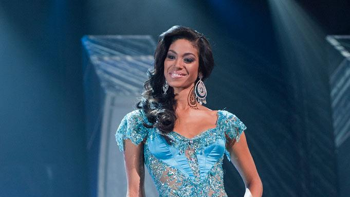 Yendi Phillipps, Miss Jamaica 2010, poses for the judges during final voting at the live telecast of the 2010 Miss Universe Pageant.