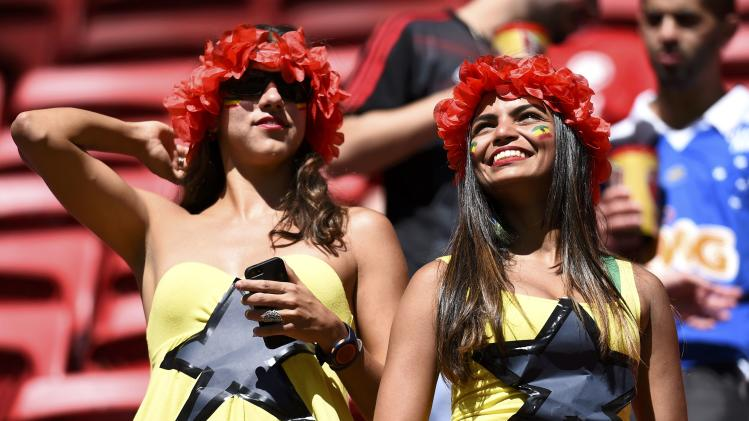 Ghana fans attend the 2014 World Cup Group G soccer match against Portugal at the Brasilia national stadium in Brasilia