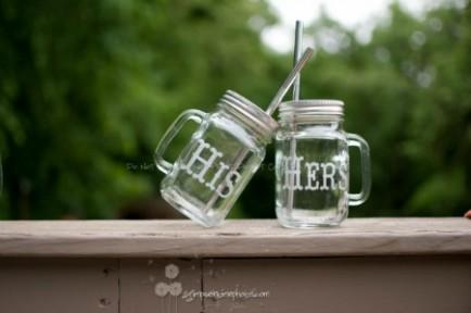 Etched Handled Mason Jar To-Go Cups
