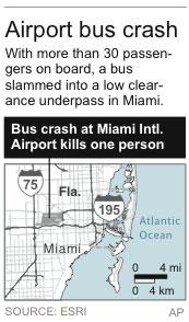 Map locates Miami International Airport where a bus crash killed one person