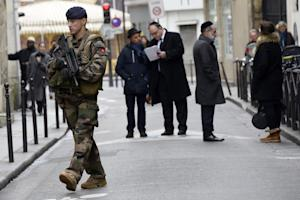 A French policeman patrols on January 12, 2015 in the …