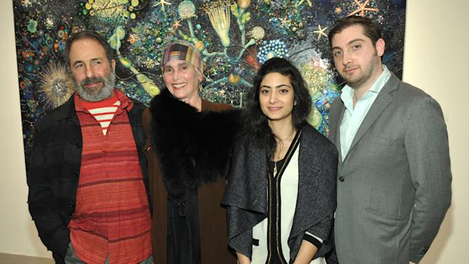 IMAGE DISTRIBUTED FOR SMMOA - From left, Peter Shire, Elsa Longhauser, Samira Yamin, and Jeffrey Uslip attend the Santa Monica Museum of Art Winter Exhibition Openings on Friday, Jan. 18, 2013 in Santa Monica, Calif. (Photo by John Shearer/Invision for SMMoA/AP Images)