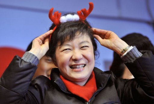 &lt;p&gt;South Korea&#39;s presidential candidate Park Geun-Hye of the ruling New Frontier Party smiles during her election campaign in Seoul on December 18, 2012. South Koreans went to the polls Wednesday to choose a new president in a close and potentially historic election that could result in Asia&#39;s fourth-largest economy getting its first female leader.&lt;/p&gt;