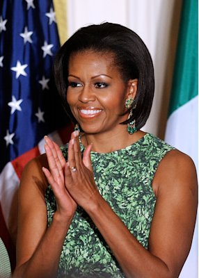 Michelle Obama attends a St. Patrick's Day reception at the White House on March 17, 2011
