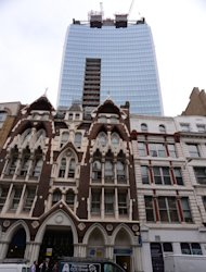 "A general view of the ""Walkie-Talkie"" building, taken from Eastcheap in the City of London, where sun light reflected from the building melted part of a Jaguar car."