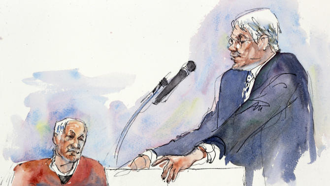 In this courtroom sketch, Joseph McGettigan III, Pennsylvania senior deputy attorney general, right, speaks during the sentencing hearing of former Penn State University assistant football coach Jerry Sandusky as Sandusky listens, rear, at the Centre County Courthouse in Bellefonte, Pa., Tuesday, Oct. 9, 2012. Sandusky was sentenced to at least 30 years in prison, effectively a life sentence, in the child sexual abuse scandal that brought shame to Penn State and led to coach Joe Paterno's downfall. (AP Photo/Aggie Kenny)