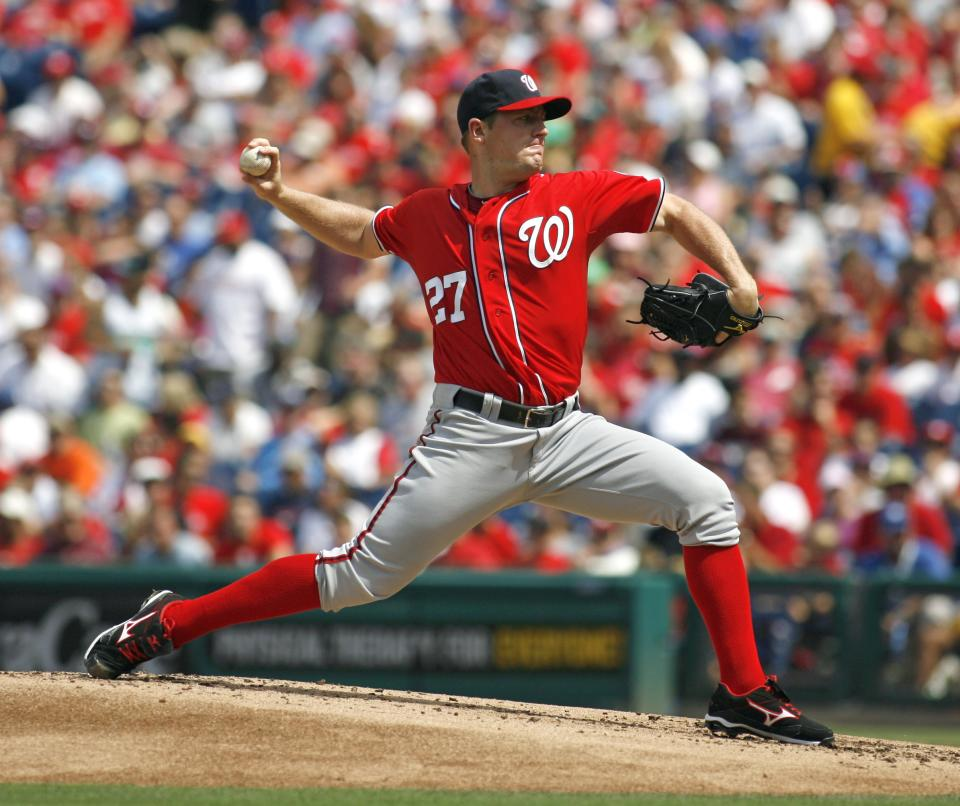 Washington Nationals starting pitcher Jordan Zimmermann throws against the Philadelphia Phillies in the first inning of a baseball game on Sunday, Aug. 26, 2012, in Philadelphia. (AP Photo/H. Rumph Jr)
