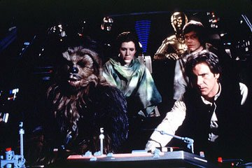 Chewbacca ( Peter Mayhew ), Han ( Harrison Ford ), Leia ( Carrie Fisher ), Luke ( Mark Hamill ) and C-3PO ( Anthony Daniels ) in 20th Century Fox's Return of the Jedi