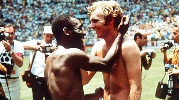 Pele and Bobby Moore at the 1970 World Cup
