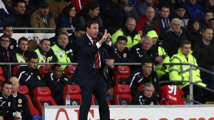 Malky Mackay gestures to his players from the touch line during the Premier League game against Swansea City in Cardiff on November 3, 2013