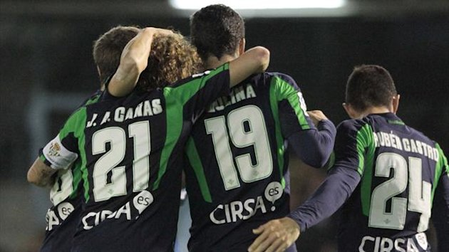 Real Betis forward Jorge Molina after scoring against Real Betis at the Balaidos stadium in Vigo (AFP)